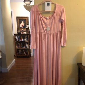 Long blush Pink Maternity Dress